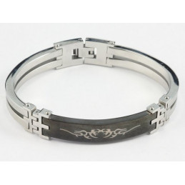 Bracelet homme motif tribal en acier inoxydable
