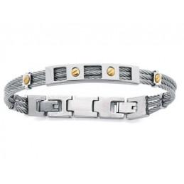 Bracelet mixte homme femme motif cable en acier 21cm