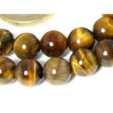 Fil de 39 perles rondes 10mm 10 mm en Oeil de Tigre marron