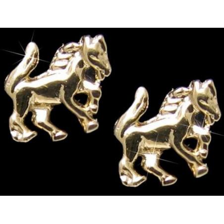 Boucles d'oreilles Cheval en plaqué or