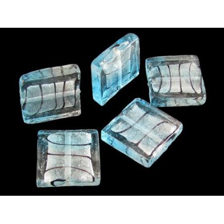 5 perles carré Murano feuilles d&#39argent bleu ciel 24 mm L6