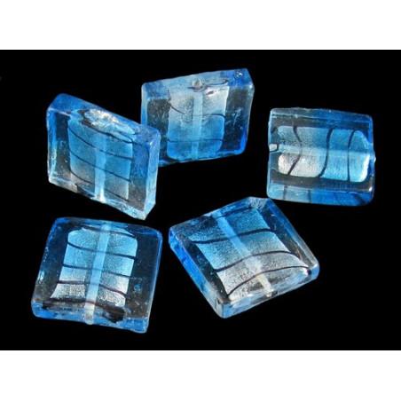 5 perles carré Murano feuilles d&#39argent bleu lagon 24 mm L5
