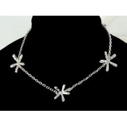 Bracelet femme enfant 3 étoiles cz cristal en argent - 18cm