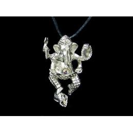 Pendentif Ganesh dansant dieu éléphant en acier étain + cordon