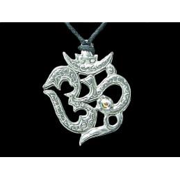 Pendentif Om Aum symbole sacré en acier étain + cordon