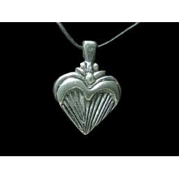 Pendentif Reiki chakras du coeur amour en étain + cordon