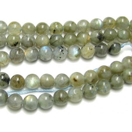 Fil de 91 perles rondes 4mm 4 mm en larvikite labradorite noire
