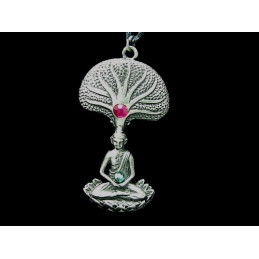 Pendentif arbre du bouddha figuier sacré en étain + cordon