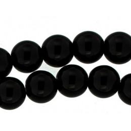 Fil de 19 perles rondes 10mm 10 mm en onyx noire