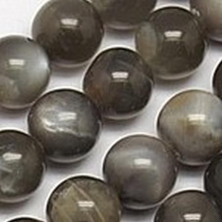 Fil de 64 perles rondes 6mm 6 mm en obsidienne acajou mahogany