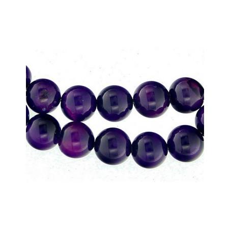 Fil de 91 perles rondes 4mm 4 mm en agate agathe violet