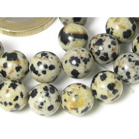Fil de 64 perles rondes 6mm 6 mm en Jaspe dalmatien