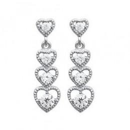 Boucles d'oreilles pendantes cascade de coeur cz cristal en argent