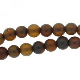 Fil de 59 perles rondes 7mm 7mm en ambre marron fonçée cognac qualité B