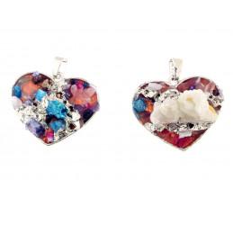 Pendentif coeur en quartz brut druzy multicolore + chaine