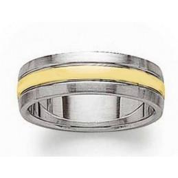Bague Mixte homme femme trois anneaux acier et plaqué or