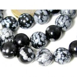 Fil de 38 perles rondes 10mm 10 mm en obsidienne flocon de neige