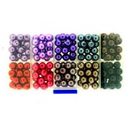 Boite box de perles rondes nacrées violet marron noir rouge gris 8mm 250 perles