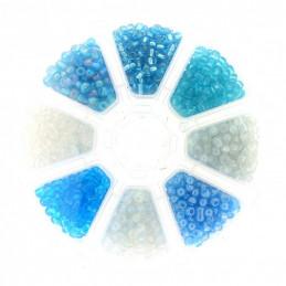 Boite box de perles de rocailles bleus et blanc 4mm 200gr env 1440 perles