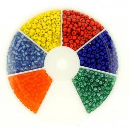 Boite box de perles de rocailles multicolore bleu vert rouge 3mm 60gr env 1200 perles