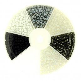 Boite box de perles de rocailles blanc noir gris 3mm 60gr env 1200 perles