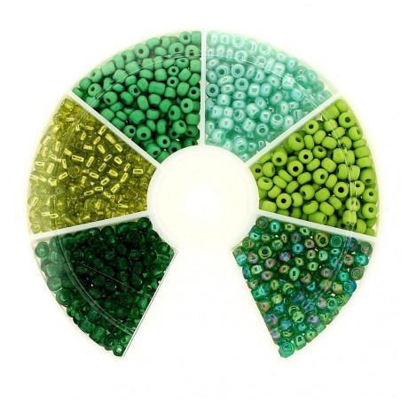 Boite box de perles de rocailles tons de vert 3mm 60gr env 1200 perles