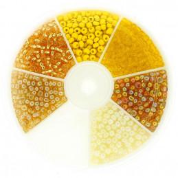 Boite box de perles de rocailles tons de jaune 3mm 60gr env 1200 perles