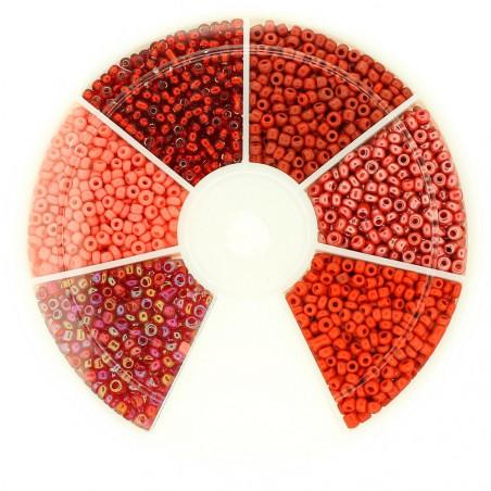 Boite box de perles de rocailles tons de rouge 3mm 60gr env 1200 perles