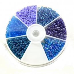 Boite box de perles de rocailles tons de bleus 3mm 60gr env 1200 perles