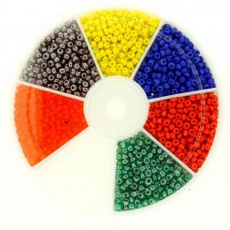 Boite box de perles de rocailles multicolore bleu vert rouge 2mm 60gr env 2100 perles