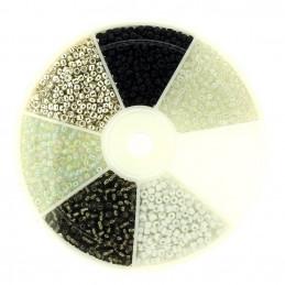 Boite box de perles de rocailles blanc noir gris 2mm 60gr env 2100 perles