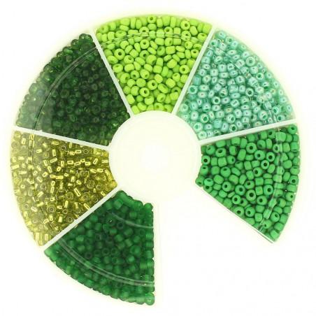 Boite box de perles de rocailles tons de vert 2mm 60gr env 2100 perles