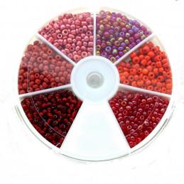 Boite box de perles de rocailles tons de rouge 2mm 60gr env 2100 perles