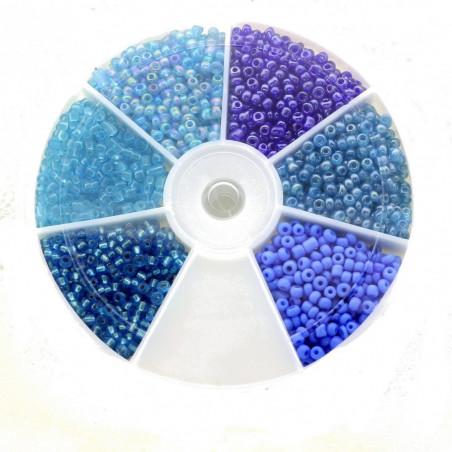 Boite box de perles de rocailles tons de bleus 2mm 60gr env 2100 perles