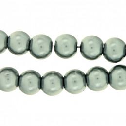 Lot de 50 perles Nacrées 8mm 8 mm - Gris fonçé