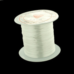 Rouleau bobine de 10 m de fil de fibres élastique couleur cristal transparent 0,8mm