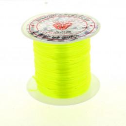Rouleau bobine de 10 m de fil de fibres élastique couleur jaune fluo 0,8mm
