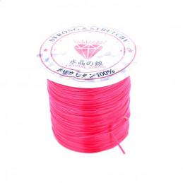 Rouleau bobine de 10 m de fil de fibres élastique couleur rose fushia 0,8mm