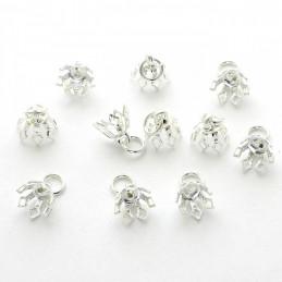 10 bélières chapeaux tulipes argentées + anneaux à sertir ou à coller pr pendentif