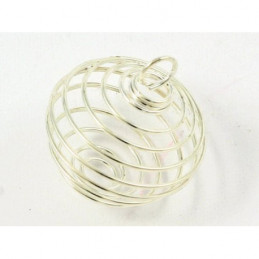10 X petites Cages ou boules ressort pour pendentif ou perles argenté fonçé 1,5cm