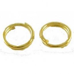 Lot de 50 anneaux rond doublés dorés 6mm