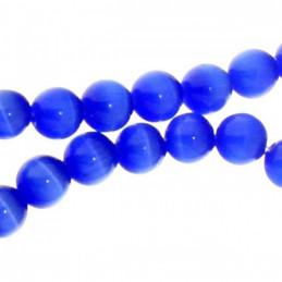 Fil de 66 perles rondes oeil de chat 6mm 6 mm bleu fonçé nuit 31