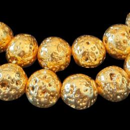 Fil de 60 perles rondes 6mm 6 mm en pierre de lave dorée teintée