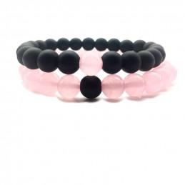 """Lot de 2 Bracelets élastique duo """"inséparable"""" en quartz rose - agate noire perles rondes 17mm"""