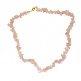 Collier de chips perles en quartz rose - collier chaîne de 45cm
