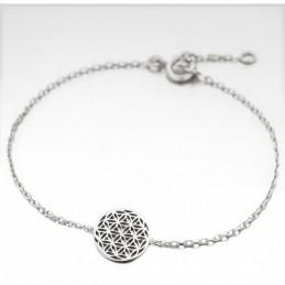 Bracelet femme enfant breloque fleur de vie en argent 925°/00 - 18cm