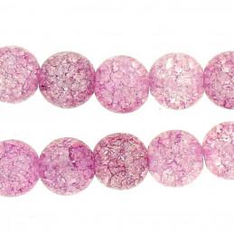 Fil de 62 perles rondes 6mm 6 mm en cristal de roche craquelés violet clair