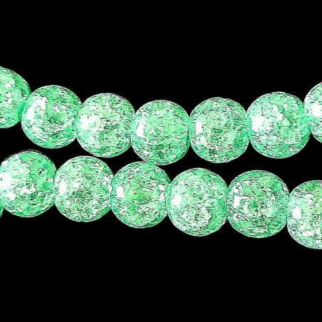Fil de 46 perles rondes 8mm 8 mm en cristal de roche craquelés vert clair