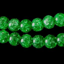 Fil de 46 perles rondes 8mm 8 mm en cristal de roche craquelés vert fonçé