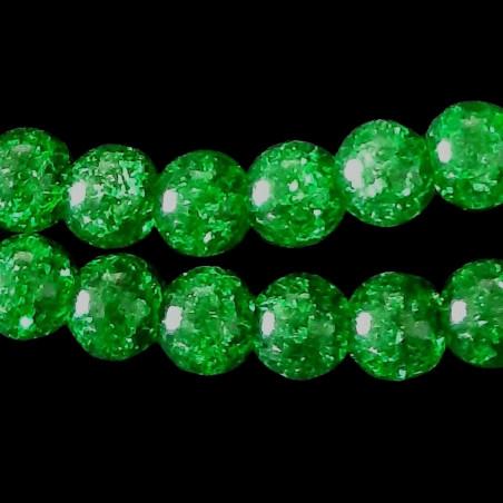 Fil de 62 perles rondes 6mm 6 mm en cristal de roche craquelés vert fonçé